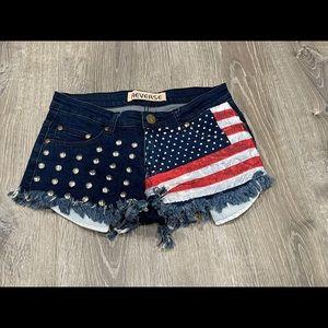 Reverse Jean Shorts American Flag Patriotic S